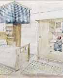 Rafael Masó, Casa Masó renovation project: perspective drawing of the bed and wardrobe for the Masó Bru apartment on the third-floor, 1910. Ink and watercolour on card, 25.4 x 35.4 cm. Joan Tarrús Collection, Barcelona. Photo © 2012 Fundació Rafael Masó