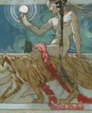 Paolo Paschetto, 1910. <em>Woman with Tiger, 1910</em>. Tempera on paper. Torre PelliceArchivio Paolo Paschetto