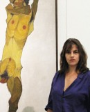 Tracey Emin  in front of Egon Schiele's