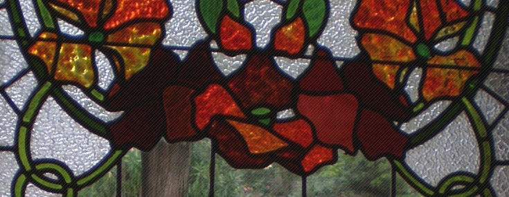 Eduard Maria Balcells, c 1905. Casa Fernández. Detail of stained glass window in front door (© Txema Romero)