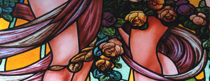 Francisco Roca, 1913-1916. Detail of a stained glass window at the Club Español
