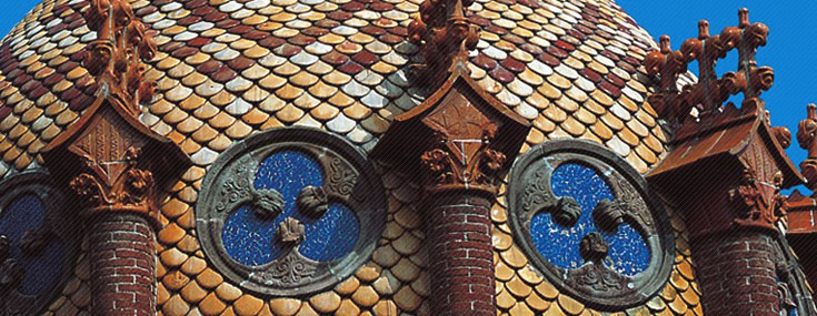Ceramic-coated dome of one of the pavilions of the Hospital de Sant Pau, built between 1902 and 1926 by Lluís Domènech i Montaner (© IMPUiQV)