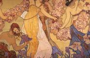 Ernesto Basile, 1899. Villino Florio. Detail of the mural paintings inside the villa. Palermo
