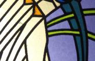 Károli Kós, 1911-1913. Calvinist Church Óbuda.  Detail of stained Glass of the ceiling