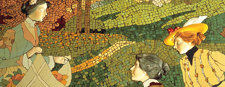 Lluís Brú, 1905. Mosaic on Casa Lleó Morera's dining room walls (© IMPUiQV)